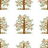 Naadloos patroon van appelbomen met rijpe appelen vector illustratie