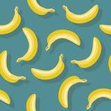 Naadloos patroon van bananen op blauwe achtergrond Stock Fotografie