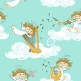 Naadloos patroon van band van engelen stock illustratie