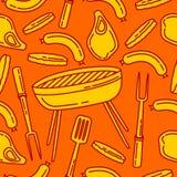 Naadloos patroon van barbecue stock illustratie