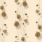 Naadloos patroon van beige en grijze bloemen op een lichte beige achtergrond met watercolor Stock Afbeelding