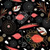 Naadloos patroon van bladeren en siervissen Royalty-vrije Stock Afbeelding