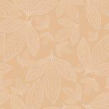 Naadloos patroon van bladeren op een beige achtergrond vector illustratie