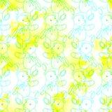 Naadloos patroon van blauwe contourteddybeer op witte en gele achtergrond royalty-vrije stock fotografie