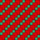 Naadloos patroon van blauwe en rode kubussen Stock Afbeelding