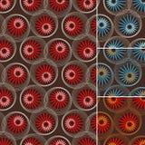 Naadloos patroon van bloemen en cirkels op bruin Royalty-vrije Stock Foto