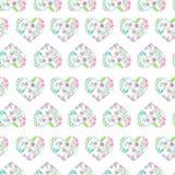 Naadloos patroon van bloemenwaterverfharten Royalty-vrije Stock Afbeeldingen