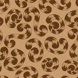 Naadloos patroon van bruine whorls tierelantijntjes Stock Afbeelding