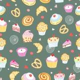 Naadloos patroon van cakes en gebakjes Royalty-vrije Stock Afbeeldingen