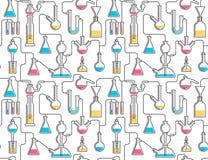 Naadloos patroon van chemisch glaswerk vector illustratie