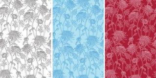 Naadloos patroon van chrysantenbloemen royalty-vrije illustratie