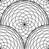 Naadloos patroon van cirkels van ineengestrengelde fijne lijnen Zwart-wit eenvoudige achtergrond Stock Foto's