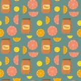Naadloos patroon van citrusvrucht en banken van citrusvruchtenjam Stock Afbeeldingen