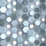 Naadloos patroon van concrete muur met het gloeien zeshoeken royalty-vrije illustratie