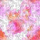 Naadloos patroon van contourteddybeer op roze waterverfachtergrond royalty-vrije stock fotografie