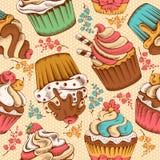 Naadloos patroon van cupcakes royalty-vrije illustratie