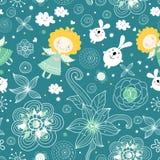 Naadloos patroon van de engelen en de konijnen vector illustratie