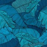 Naadloos patroon van de exotische, heldere blauwe close-up van banaanbladeren royalty-vrije illustratie