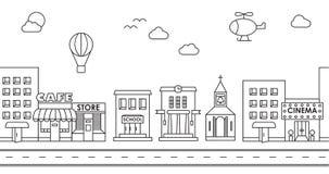 Naadloos patroon van de gebouwen Achtergrond voor spel Koffie, ci Stock Fotografie