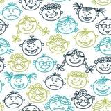 Naadloos patroon van de gezichten van het babybeeldverhaal Royalty-vrije Stock Foto's
