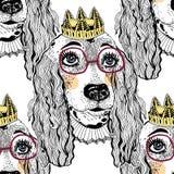Naadloos patroon van de hond van het huisdierenspaniel met kroon vector illustratie