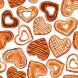 Naadloos patroon van de koekjes van het waterverfhart royalty-vrije illustratie