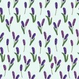 Naadloos patroon van de lentebloemen op een blauwe achtergrond Vector vector illustratie