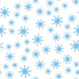 Naadloos patroon van de vectorachtergrond van de wintersneeuwvlokken royalty-vrije illustratie