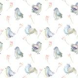 Naadloos patroon van de waterverf blauwe vogels en de roze bloementakken Stock Afbeelding
