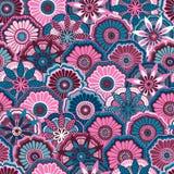Naadloos patroon van decoratieve bloemen in de stijl van krabbel Stock Foto
