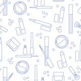 Naadloos patroon van decoratieve schoonheidsmiddelen makeup Eyeliner, oogschaduw, borstel, room, mascara De modestijl van de glam vector illustratie