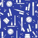 Naadloos patroon van decoratieve schoonheidsmiddelen makeup Eyeliner, oogschaduw, borstel, room, mascara De modestijl van de glam stock illustratie