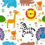 Naadloos patroon van dieren Stock Afbeeldingen