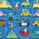 Naadloos patroon van dieren in voertuigen Stock Fotografie