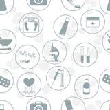 Naadloos patroon van diverse medische hulpmiddelen en drugseerste hulp stock illustratie