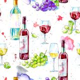 Naadloos patroon van een fles witte en rode wijn, druif en glazen stock illustratie