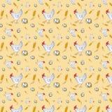 Naadloos patroon van een kip, kippenei in een mand en een tarweoor Waterverfillustratie op gele achtergrond wordt geïsoleerd die vector illustratie