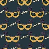 Naadloos patroon van een masker voor Mardi Gras Royalty-vrije Stock Afbeeldingen