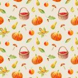 Naadloos patroon van een pompoen, bloemen, een mand, bessen, esdoorn, boleet, appel en peer stock illustratie
