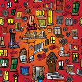 Naadloos patroon van een verscheidenheid van vensters, deuren en balkons Royalty-vrije Stock Afbeelding