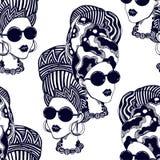 Naadloos patroon van een vrouw in tulband, hoofdomslag Vector Illustratie