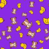 Naadloos patroon van eendjes en doggies in beeldverhaalstijl stock illustratie