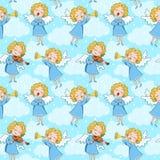 Naadloos patroon van engelen stock illustratie
