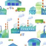 Naadloos patroon van fabrieken en pakhuizen Royalty-vrije Stock Afbeeldingen