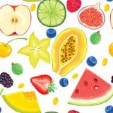 Naadloos patroon van fruit en bessen Royalty-vrije Stock Afbeeldingen