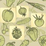 Naadloos patroon van fruit, groenten en bessen. Stock Afbeelding