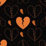 Naadloos patroon van gebroken harten die op de muur van het grungecement worden geschilderd achtergrond met vlamvonken - liefdeco Stock Afbeelding