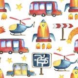 Naadloos patroon van geel-blauwe auto, rode bus, raket, sterren, hel Royalty-vrije Stock Foto's