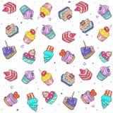 Naadloos patroon van gekleurde cakes Stock Afbeeldingen