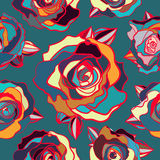 Naadloos patroon van gekleurde rozen Stock Afbeelding